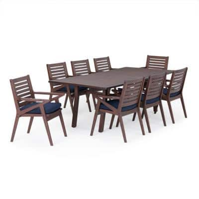 Vaughn Wood Outdoor 9-Piece Dining Set with Navy Blue Cushions