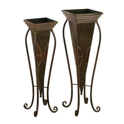 Traditional 28 in. and 30 in. Inverted Pyramid-Style Metal Planters with Stand (Set of 2)