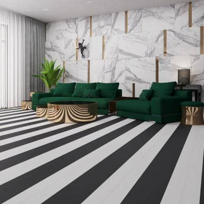 MaxCore Piano White 7.31 in. W x 48 in. L Click-Lock Luxury Vinyl Planks Flooring (24.5 sq.ft. / Case)