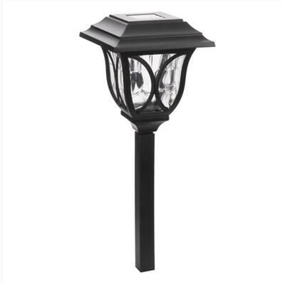6-Light Black Solar LED Outdoor Post Light 8 Lumens Square Cage