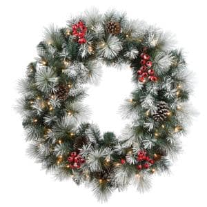 30 in. Snowy Glacier Pine Wreath with 100 Warm White Battery Operated LED Lights with Timer