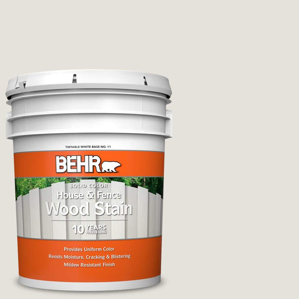 Behr 5 Gal Hdc Nt 21 Weathered White Solid Color House And Fence Exterior Wood Stain 01105 The Home Depot