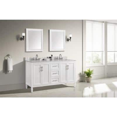 Stockham 61 in. W x 22 in. D Bath Vanity in White with Marble Vanity Top in Carrara White with White Basin