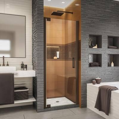 Elegance-LS 35-3/4 in. to 37-3/4 in. W x 72 in. H Frameless Pivot Shower Door in Oil Rubbed Bronze
