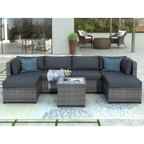 Harper Bright Designs Gray 7 Piece Wicker Outdoor Sectional Set With Black Cushions Wy000068eaa The Home Depot