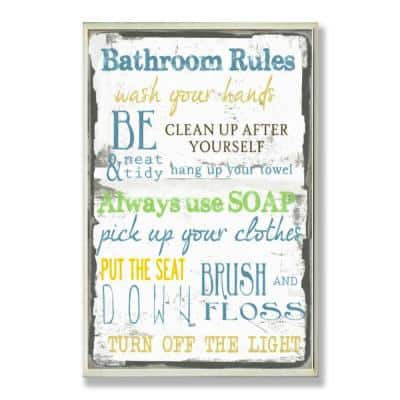 """12.5 in. x 18.5 in. """"Bathroom Rules Typography"""" by Taylor Greene Printed Wood Wall Art"""