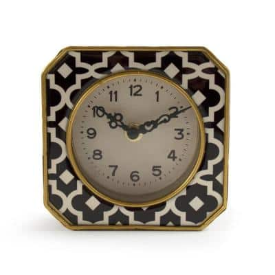 Black and White Pattern with Gold Trimmed Rounded Square Table Clock
