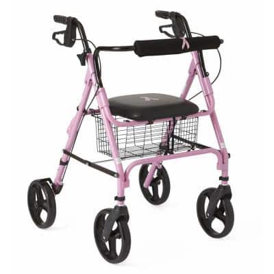 Aluminum Lightweight Folding 4-Wheel Rollator in Pink