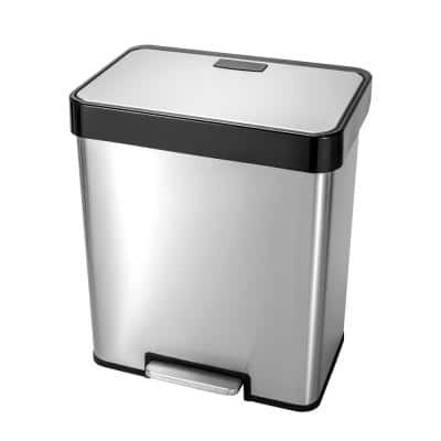 10.6 Gal. /40 l Stainless Steel Rectangular Recycling Step-on Trash Can with 20 l and 20 l Dual Compartment