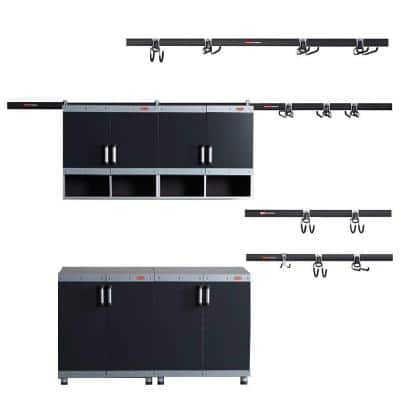FastTrack Garage Laminate Cabinet Set with Accessory Set in Black/Silver (4-Piece)