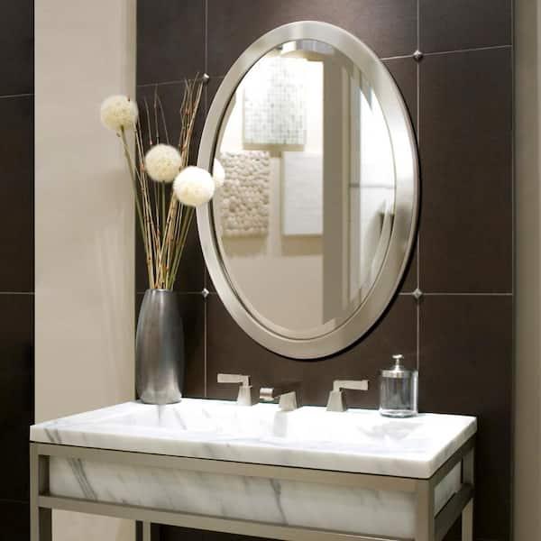 Deco Mirror 23 In W X 29 H Framed, Nickel Framed Vanity Mirror