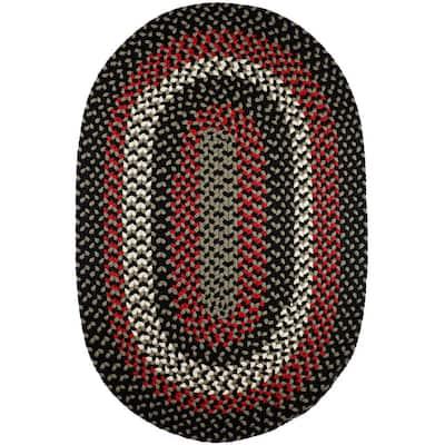 Milan Black Satin 7 ft. x 9 ft. Oval Indoor/Outdoor Braided Area Rug