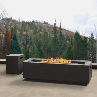 Lanesboro 48 in. x 15 in. Rectangle Powder Coated Iron Propane Fire Pit Table in Gray with NG Conversion Kit