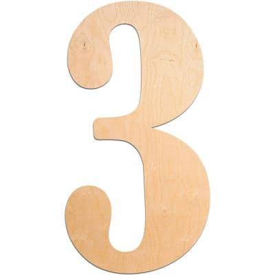 "18 in. Oversized Unfinished Wood Number ""3"""
