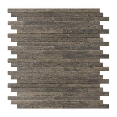 Woodly Painted Natural Wood 12.09 in. x 11.97 in. x 5 mm Metal Self-Adhesive Wall Mosaic Tile (24 sq. ft./Case)
