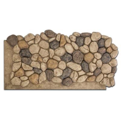 51 in. x 27 in. Polyurethane River Rock Faux Stone Panel in Tan