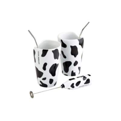Black and White Milk Shake Mooo Milk Frother Gift Set