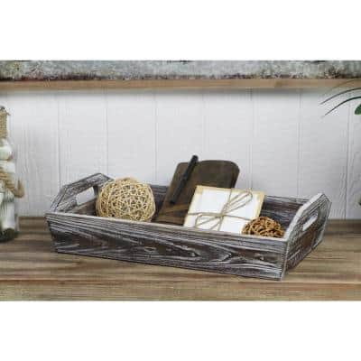 Deep Wooden Shabby White Tray with Side handles