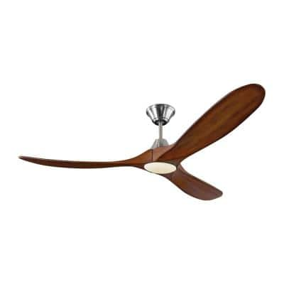 Maverick LED 60 in. Integrated LED Indoor/Outdoor Brushed Steel Ceiling Fan with Koa Blades, DC Motor and Remote Control