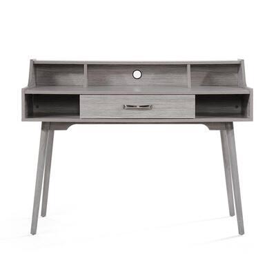 48 in. Rectangular Grey Oak 1 Drawer Secretary Desk with Built-In Storage