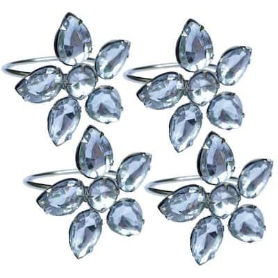 2 in. x 1.5 in. Crystal Clear Flower Napkin Rings (Set of 4), Metal