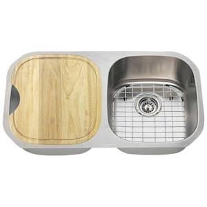 Undermount Stainless Steel 33 in. Double Bowl Kitchen Sink Kit