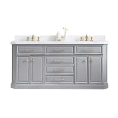 Palace 72 in. W Bath Vanity in Cashmere Grey with Quartz Vanity Top with White Basin