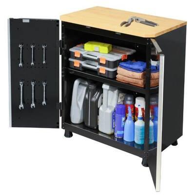 Ready-to-Assemble 24-Gauge Steel 2-Door Garage Base Cabinet in Black (28 in. W x 32 in. H x 18 in. D)