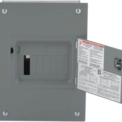 QO 100 Amp 6-Space 12-Circuit Indoor Flush Mount Main Lug Load Center with Cover, Door