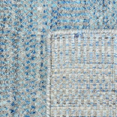 Deloris Contemporary Solid Aqua 5 ft. x 10 ft. Striped Handmade Area Rug