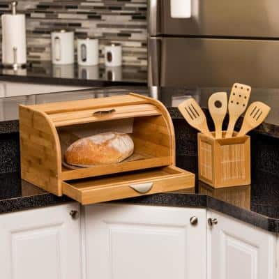 Bamboo Bread Box with Pull-Out Drawer and Cutting Board