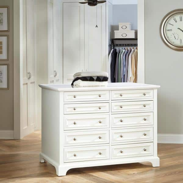 HOMESTYLES - Naples 48 in. W Closet Island in White