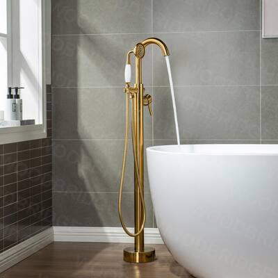 Newark Single-Handle Freestanding Floor Mount Tub Filler Faucet with Hand Shower in Brushed Gold