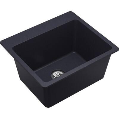 Quartz Classic Dusk Gray Quartz 25 in. Single Bowl Drop-In Laundry Sink with Perfect Drain