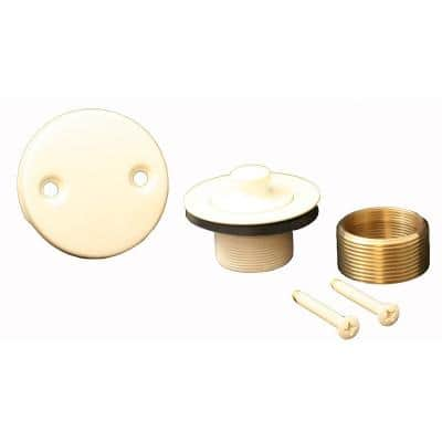 Lift and Turn Bath Tub Drain Conversion Kit with 2-Hole Overflow Plate, Almond