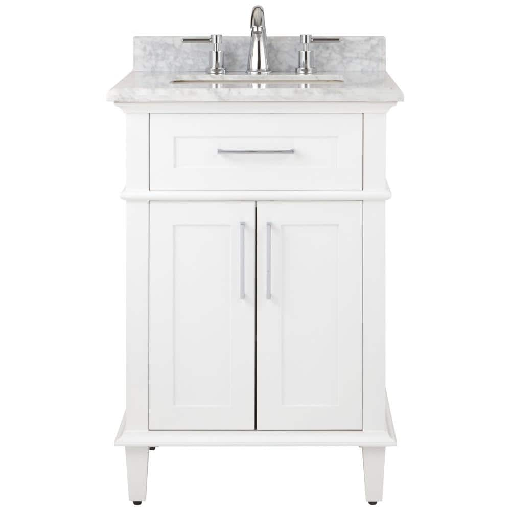 Home Decorators Collection Sonoma 24 In W X 20 25 In D Vanity In White With Carrara Marble Top With White Sinks 9784800410 The Home Depot
