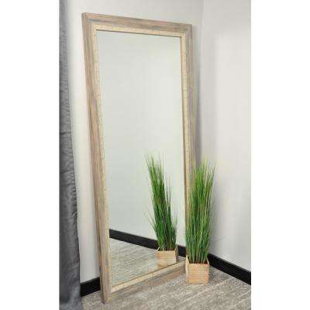 Medium Cream/White/Gray/ Tan Shades Wood Hooks Rustic Mirror (32 in. H X 66 in. W)