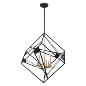Corrientes 6-Light Matte Black/Gold Geometric Pendant with Clear Glass Shades