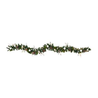9 ft. Battery Operated Pre-lit Ornament and Pinecone Artificial Christmas Garland with 50 Clear LED Lights