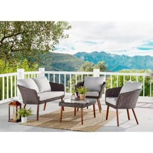 Athens Brown 4-Piece All-Weather Wicker Outdoor Conversation Set with Light Gray Cushions