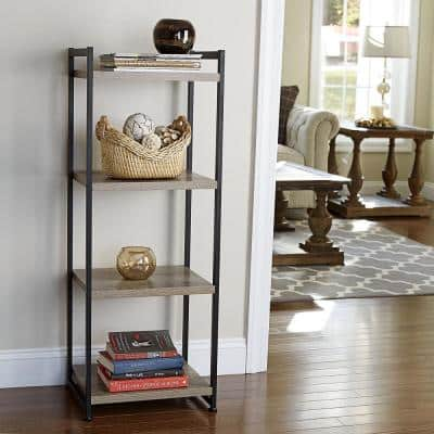 47.2 in. Gray/Black Metal 4-shelf Etagere Bookcase with Open Back
