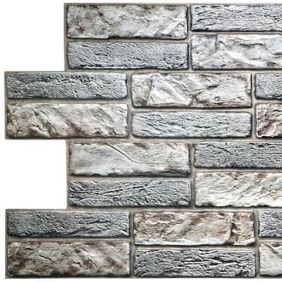 3D Falkirk Retro 20/1000 in. x 38 in. x 19 in. Light Beige Grey Faux Old Brick PVC Wall Panel