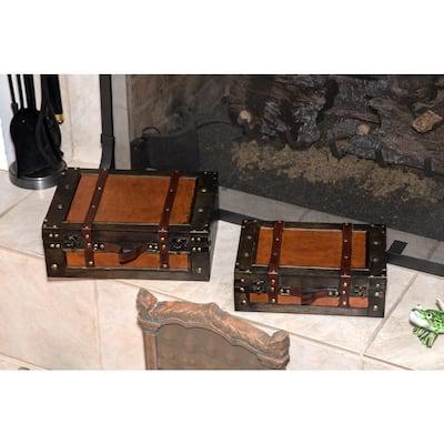 Vintage Style Wood Decorative Suitcases (Set of 2)