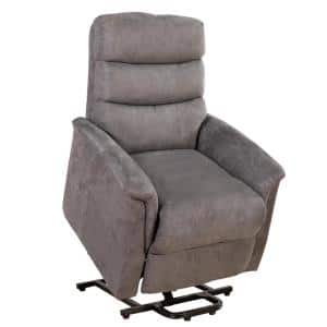 28 in. Width Big and Tall Gray Microfiber Lift Recliner