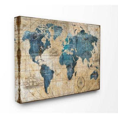 """30 in. x 40 in. """"Vintage Abstract World Map"""" by Art Licensing Studio Canvas Wall Art"""