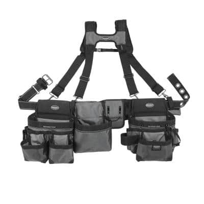 3-Bag Mullet Buster Adjustable Tool Belt with Suspenders Suspension Rig with 29-Pockets in Grey