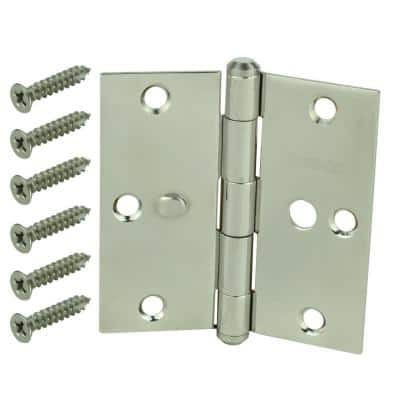 3-1/2 in. Stainless Steel Square Corner Security Door Hinge