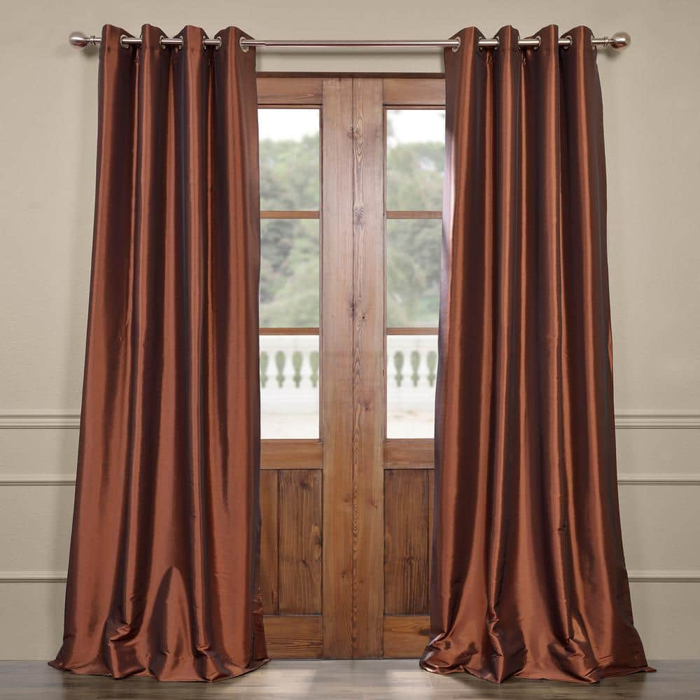 Exclusive Fabrics Furnishings Copper Brown Faux Silk Grommet Blackout Curtain 50 In W X 108 In L Pth B209 108 Gr The Home Depot