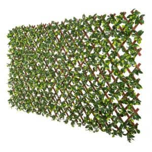 Expandable Indoor/Outdoor Brown PVC Trellis with Gardenia Leaf