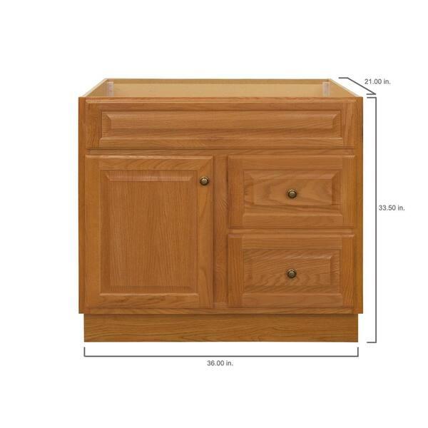 Glacier Bay Hampton 36 In W X 21 In D X 33 5 In H Bathroom Vanity Cabinet Only In Oak Hoa36dy The Home Depot